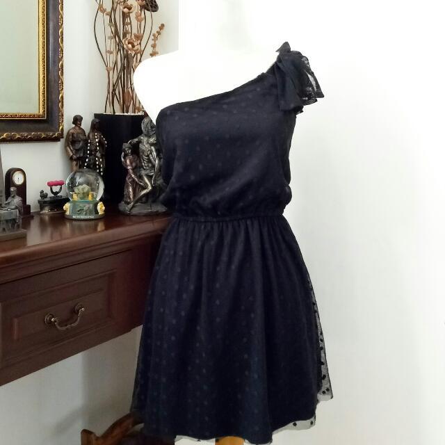 ZARA Polkadot Tylle One Shoulder Dress