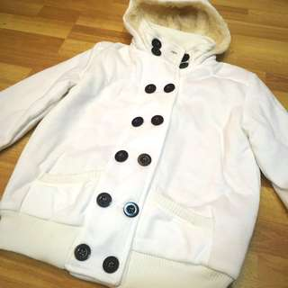 Button-down White Trench Jacket