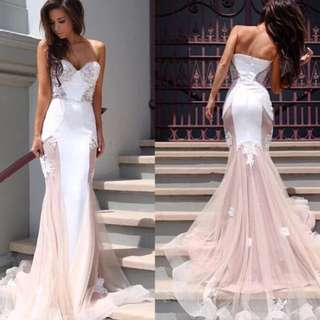 Light Pink And White Formal Dress