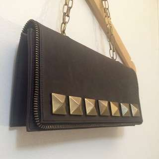 Aux Studded Leather Purse-Clutch With Chain Links