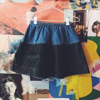 Denim And Pleather Skater Skirt