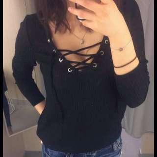 Lace Up Black Top
