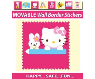 Hello Kitty Wall Border Stickers - Totally Movable