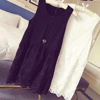 韓版秋裝內搭中長款蕾絲刺繡吊帶背心裙—黑色