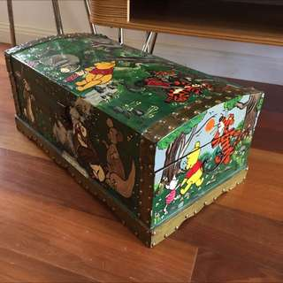 Vintage Hand Painted Winnie The Pooh Toy Trunk