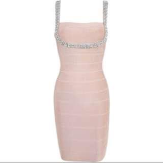 Herve Leger Crystal Pink Bandage Dress