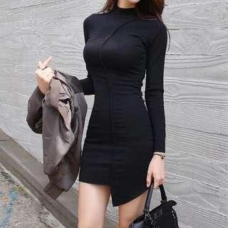黑色修身不規則裙擺包臀性感長袖連身裙