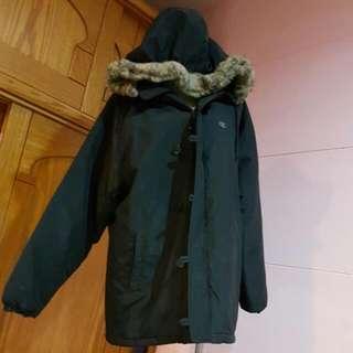 日本CHAMPION冠軍牌 免運  專櫃正品 黑色連帽超暖長版大衣外套