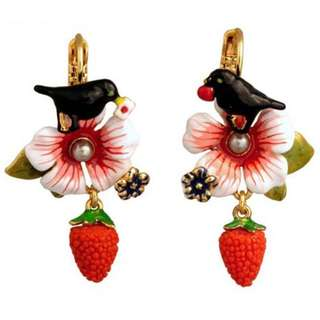 Les Nereides Bird And Strawberry Earrings