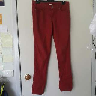 Dark Red Denim Jeans Size 12