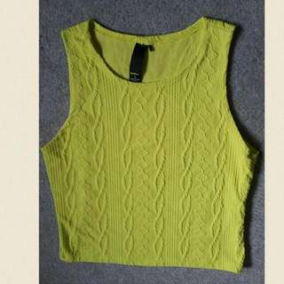 Fluro Yellow Crop Top Size L