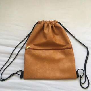 Brown Leather Drawstring Bag