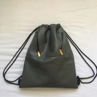 Grey Leather Drawstring Bag