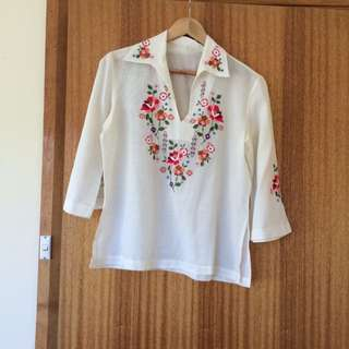 Vintage 70s Embroidered Blouse