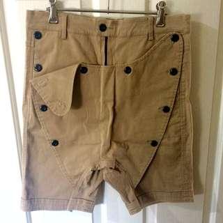 Cubic Cloth Drop Crutch Shorts