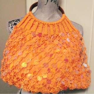 Orange Sequin Tote Bag