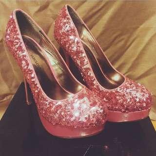 Brand New Pink Sequin Heels