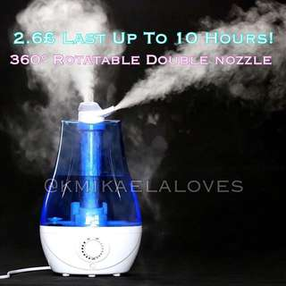 Haze! Duo Nozzle Air Humidifier - LED Lighting Ultrasonic Aromatherapy Air Purifier Mist Adjustment Mode/Mist Diffuser/Aroma Oil/Skin Care/Breathe Well/Super Quiet Bedroom/Large Capacity Office/Dry Skin