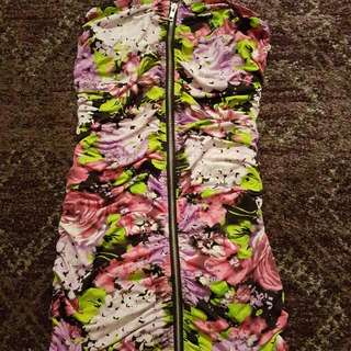 Strapless floral bodycon dress