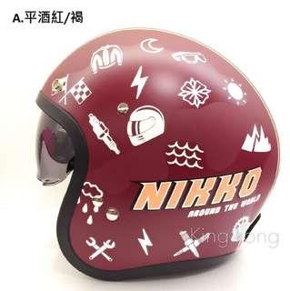 【金剛安全帽】Nikko【半罩式】N-500#3內藏鏡片騎士帽/復古帽/哈雷/重機/偉士牌/Gogoro全可拆洗彩繪款