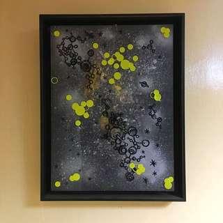 手繪裱框作品-小宇宙