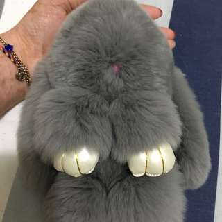 Xmas Sales! High Quality Rabbit Pom Pom Key Ring (Grey)