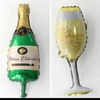 Champagne + Wine Glass Foil Balloon