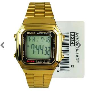 Casio Men's Gold Stainless Steel Strap Watch  No: A178WGA-1ADF