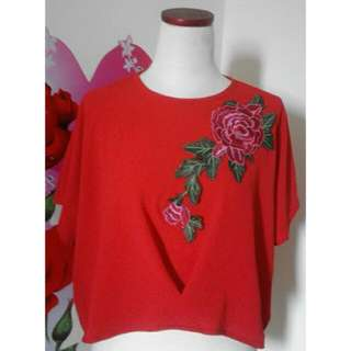 Blouse Red Flowers