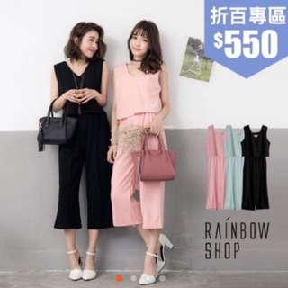 純色兩件式無袖背心+寬褲套裝-F-黑