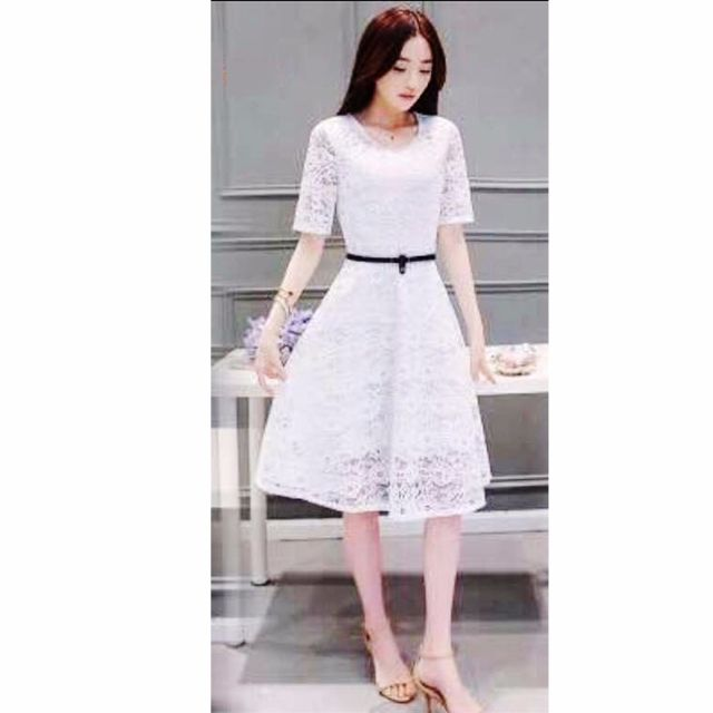 abe6d79a61b1b 289 Classic Korean Lace Short Sleeved A-line Dress with Belt (White ...