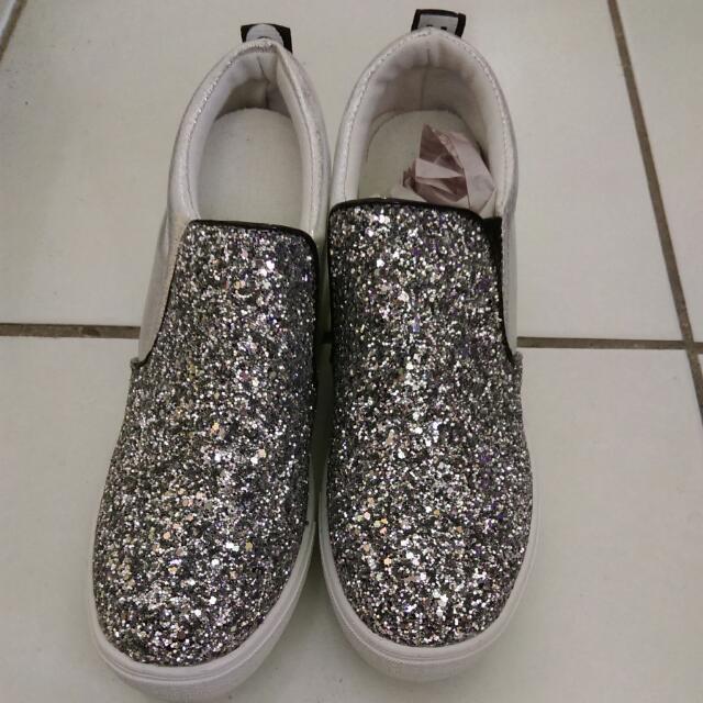 銀色亮蔥內增高鞋
