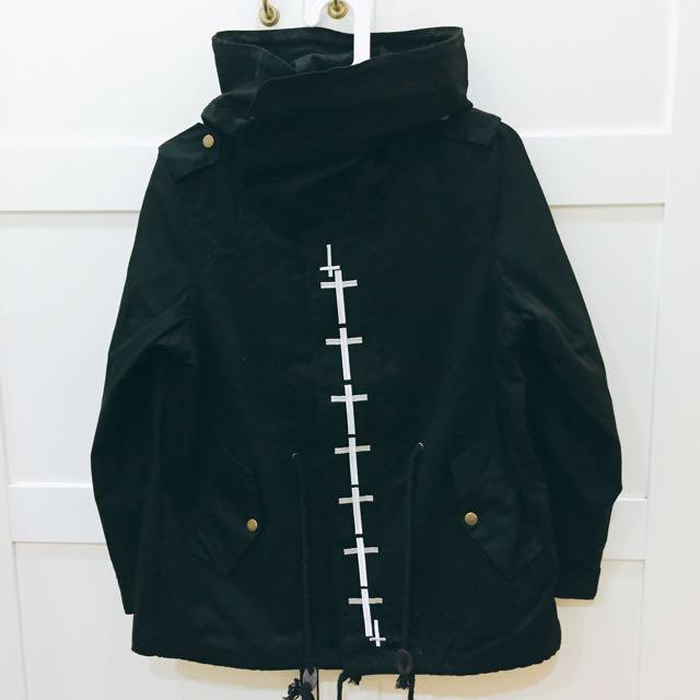 十字架暗黑系風衣大帽外套