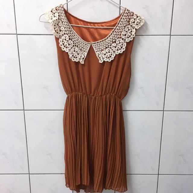 深橘色 蕾絲 無袖 洋裝