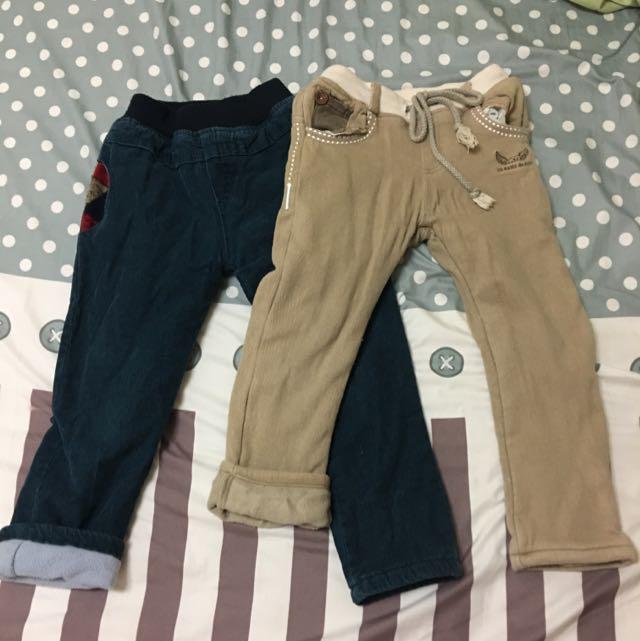 男童 冬天 厚刷絨 鋪棉 長褲 11(95-105)