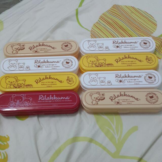 聖誕節 正版授權 絕版 出清 拉拉熊 環保筷 (僅售空盒) 可當 鉛筆盒 超可愛