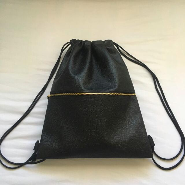 Black Leather Drawstring Bag