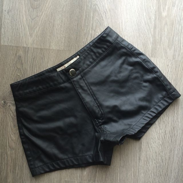 Black Leather High Waist Shorts
