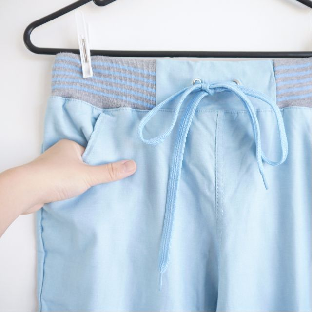 Blue Elastic Waist Pants New