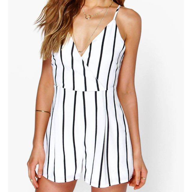 Boohoo Black Striped Playsuit