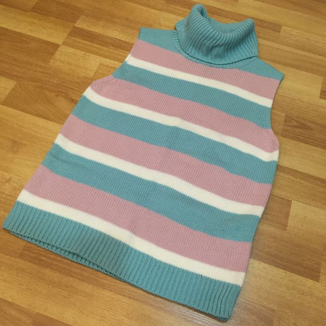 Candy-coloured Striped Sleeveless Knit Turtleneck Top