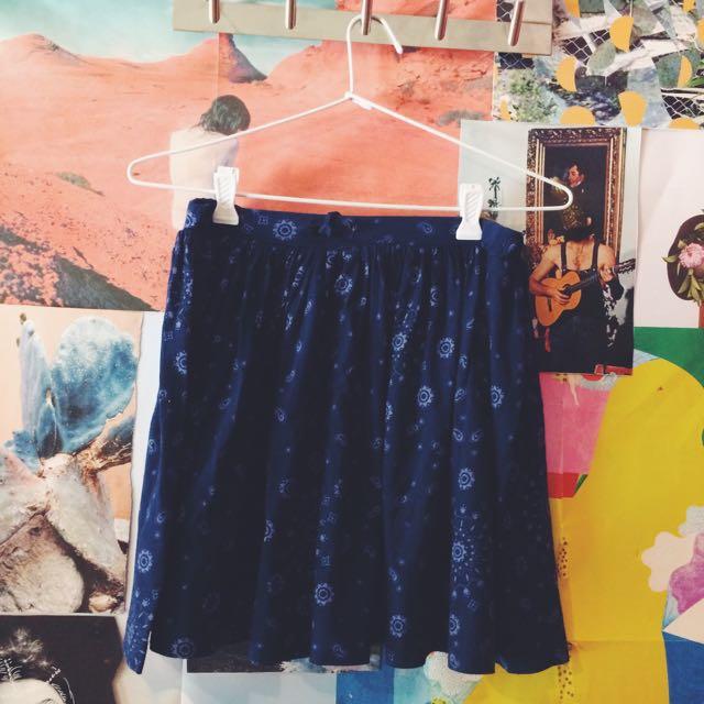 Country Road Dark Blue Skater Skirt