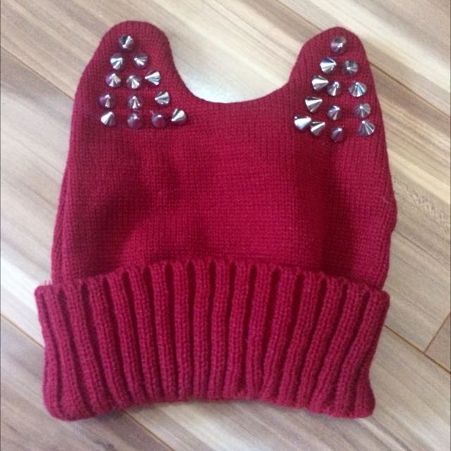 Cute Red Beanie With Stud Ears