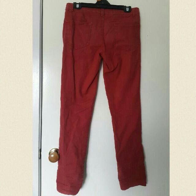 Dark Red Denim Jeans Size 12