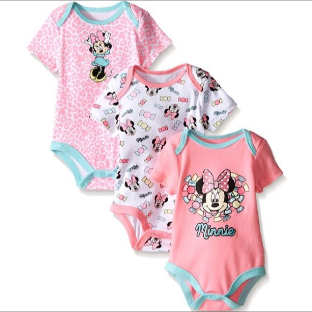 0bb796195 Disney Baby Girls' Minnie Mouse 3 Pack Bodysuits /rompers, Babies ...
