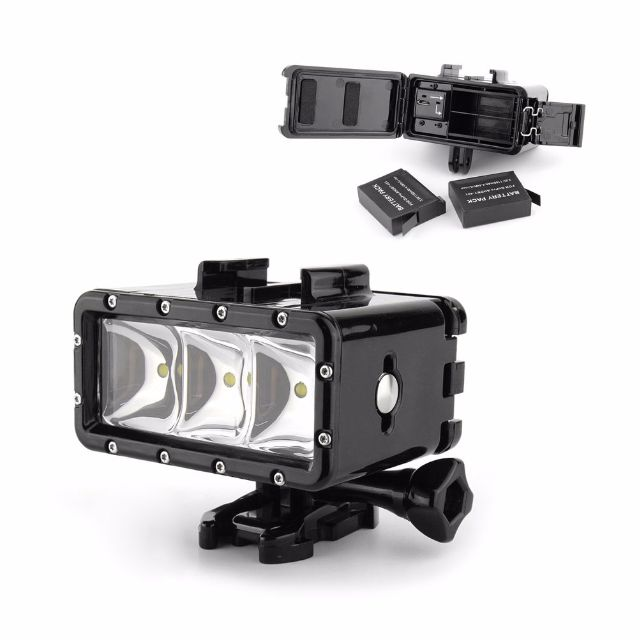 Dual Battery Underwater Waterproof Diving LED Light Mount For GoPro Hero 6 5 4 3 2 1 Silver Black Session SJCAM SJ4000 SJ5000 Xiaomi Xiaoyi Yi 4K HD