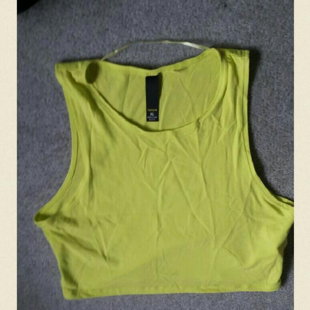 Fluro Yellow Crop Top Size XL