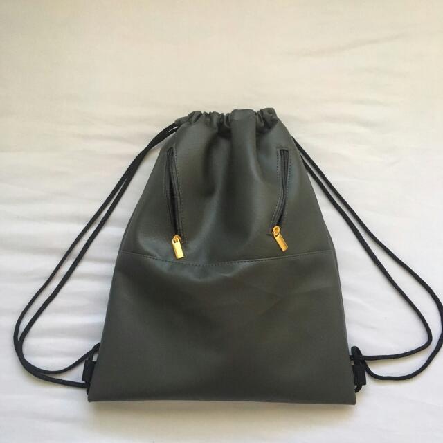 Grey Leather Drawstring Bag