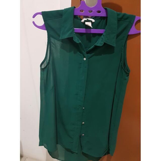 Preloved H&M green sheer top