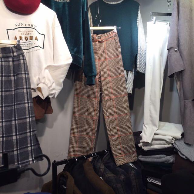 葒hong購入 格紋褲